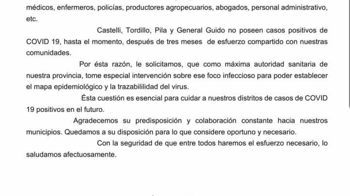 Castelli, Pila, General Guido y LavalleCuatro intendentes pidieron al ministro Daniel Gollán que intervenga en el «foco infeccioso» de Dolores