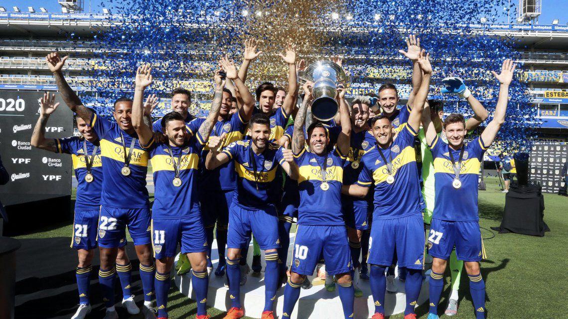Tras 258 díasBoca pudo alzar el trofeo de campeón de la Superliga 2019/20